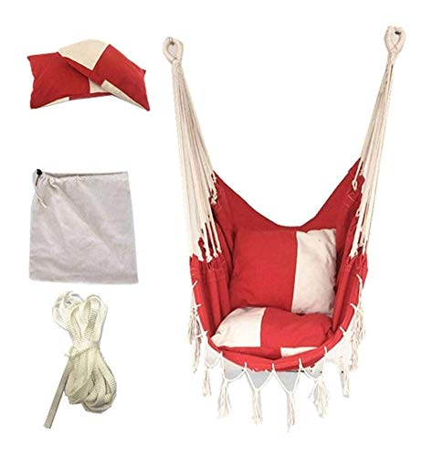 Sling hammock swing seat Relax hanging swing Hammock Chair,Comfortable Durable Cotton Hammock Hanging Chair With Cushions Canvas Swing Chair Seat For Children Adult Student,suitsble For Dormitory/Cour