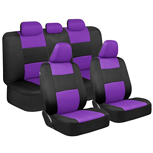 BDK PolyPro Car Seat Covers, Full Set in Purple on Black – Front and Rear Split Bench Protection, Easy Install with Two-Tone Accent, Universal Fit for Auto Truck Van SUV