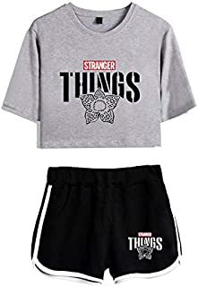 40 STYLES New Stranger Things Two Piece Set Leisure Hit Hop 2 Piece Set Women Tracksuit Women Shorts+Lovely T-Shirts Hot Sale Clothes