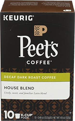 Peet's Coffee Decaf House Blend Dark Roast Coffee K-Cup, 10 ct
