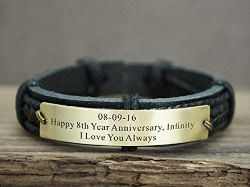 Gift for Boyfriend Valentine/'s Day Gift for Man leather bracelet with Infinity Symbol Leather Men Bracelets Leather gift for Anniversary