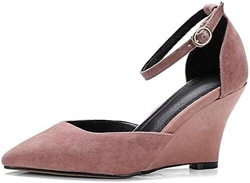 ZHZNVX Wohommes Nappa Leather Summer Basic Pump Pump Heels Wedge Heel blanc noir rose  qualité officielle