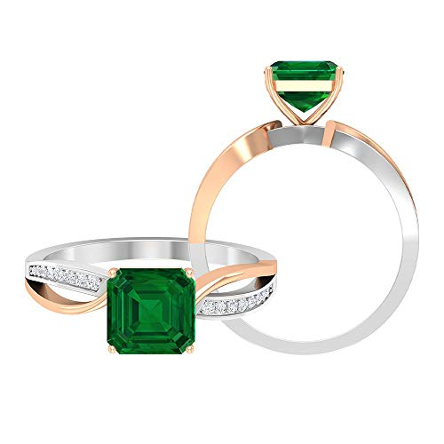Anillo de 4 ct de dos tonos con solitario esmeralda creado con detalles de moissanita y corte Asscher, anillo de vástago dividido (calidad AAAA), 14K Oro rosa, Size:EU 57