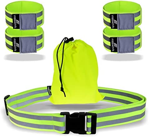 FREEMOVE Reflective Running Gear Run Relaxed with High Visibility Reflective Belt and Arm Bands product image