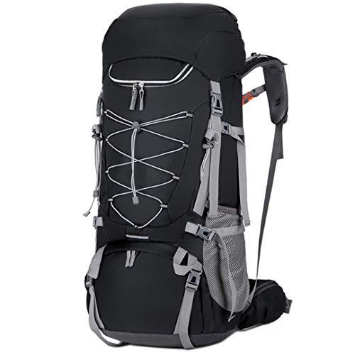 75L extérieur Sac à Dos grancapacité Randonnée Camping Eau Sacs résistant Trekking avec Pluie Couverture Rucksack Black Color 50-70L