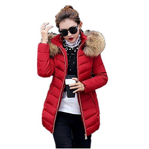 Mantel Damen Kolylong® Frauen Winter Warm Lange Steppjacke mit Kapuze Parka mit Fellkapuze Locker Wintermantel Verdickte Daunenmantel Kapuzenjacke Outwear (L, Wein)
