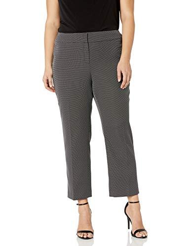 Kasper Women's Plus Size PIN DOT Trouser Pant, Black/White, 20W