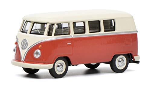 Schuco 452017100 VW T1 Bus, beige 1:64 452017100-VW, Modellauto, Modellfahrzeug, rot, Creme