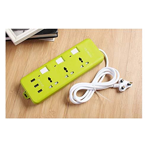 Placa De Extensión 3M Con 3 Puertos USB, Tres Cables De Extensión De Tres Orificios De U, Tira De Red Múltiple Para El Hogar, Para El Hogar / Oficina / Dormitorio (EU / EE. UU. / Reino Unido),Verde,EU