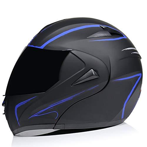SJAPEX Integrado Casco de Moto Modular con Doble Visera Cascos de Motocicleta ECE Homologado a Prueba de Viento para Adultos Casco,Aplicar para Hombres Mujeres B,XL=61~62cm