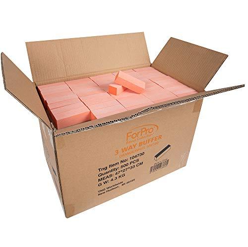 "ForPro Basics Orange/white Block Buffer, 100/180 Grit, Double-sided Disposable Manicure & Pedicure Buffers, 3.75"" L X 1"" W, 500Count"