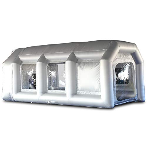 SAYOK Abri gonflable avec système de filtre et 2 souffleurs portables pour peinture de voiture et porte 6mL x 3mW x 2.5mH Argenté.