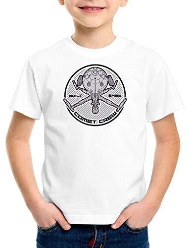 style3 Comet Crew T-Shirt für Kinder Future Anime Raumschiff Captain, Farbe:Weiß, Größe:128