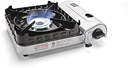 Chef Master 90019 Portable Butane Stove, 15,000 BTU Single Burner Gas Stove, Camping and Backpacking Essentials, Piezo Electric Ignition, Double Wind Guard Burner, Hard Carrying Case