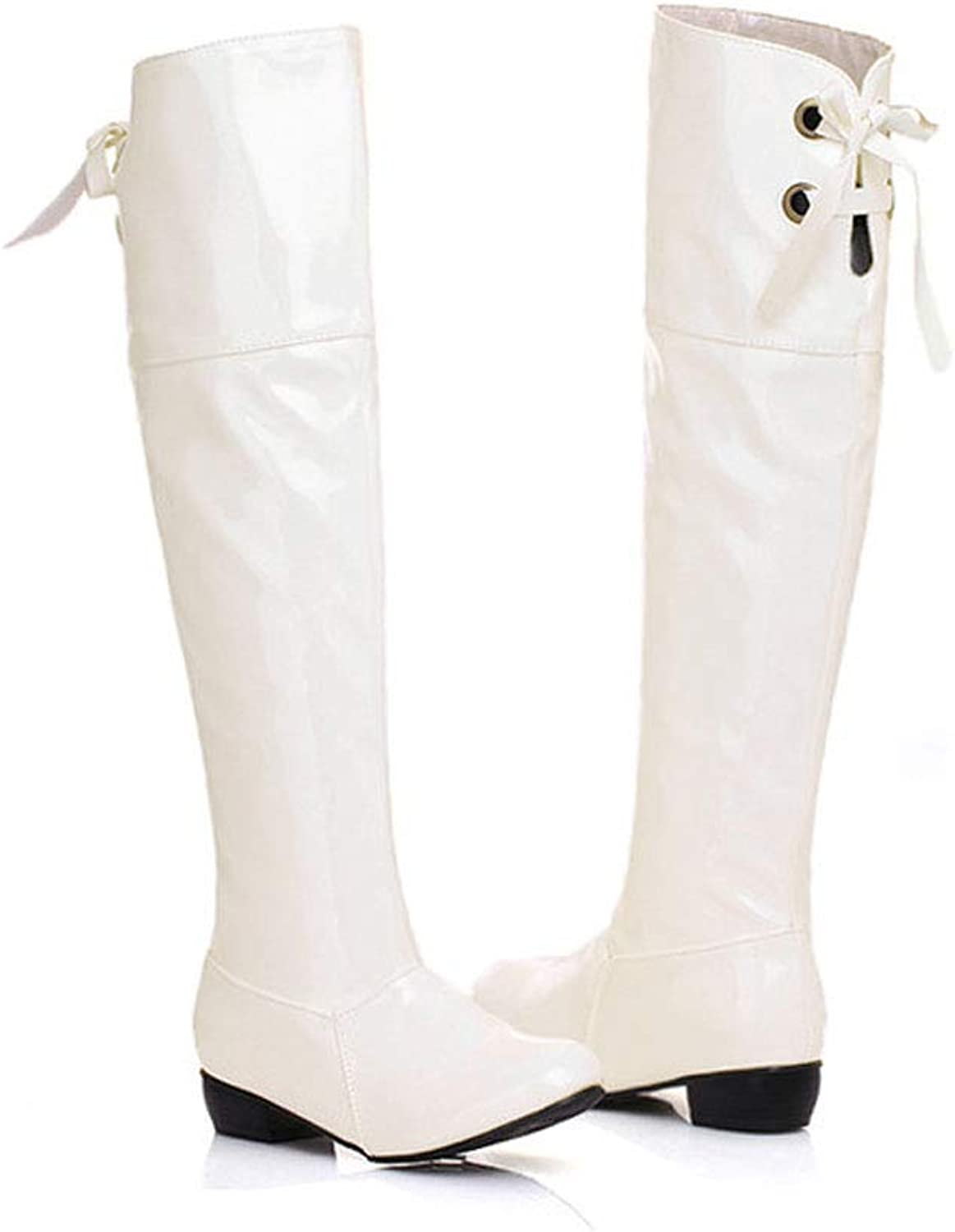 Patent Leather High Boots, Female Pointed Over The Knee Boots Waterproof Platform Low Heel Knight Boots with Thick Warm Boots for Parties, Work, Clothing Match, Daily