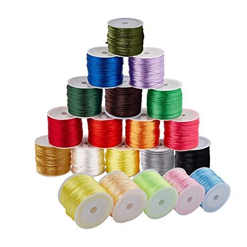 PandaHall 300m 1.5mm 20 Colori Cordoncino di Raso di Nylon Corda di Seta Rattail Corda di Perline Corda di Filo per Nodo Cinese Collana Bracciale Gioielli Artigianato Fare
