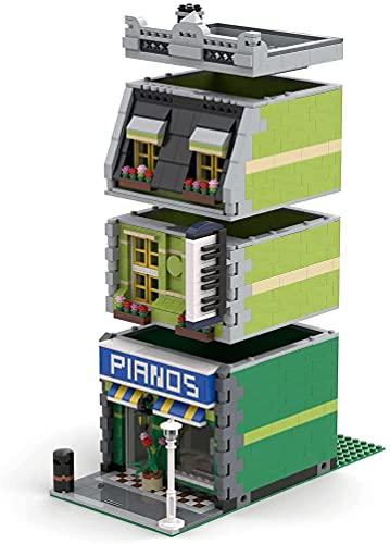 Modelo de ladrillos para sala de exposición para piano compatible con Lego, MOC DIY Creative Construction Collection Architecture Building Toy, MOC-44464 (1151 piezas)