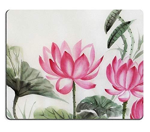 Mauspads Baum Lotusse Aquarell Malerei Original Art Asian Style Mat Customized Desktop Laptop Gaming Mauspad