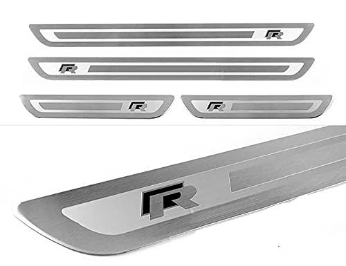 WXFN 4 StüCk Auto Edelstahl Einstiegsleisten TüRschwelle Kick Plates, für Volkswagen Vw Golf 6 7 GTI R-line Jetta Polo T-ROC R Touran Pedal Abnutzungsplatte Kratzfestes