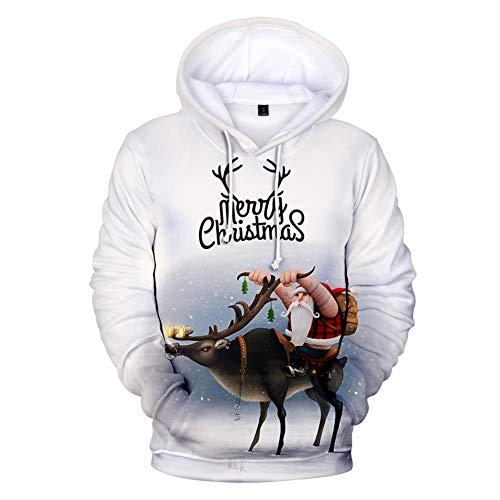 Zcbm Imprimé en 3D Cosplay Drawstring Hoodie Père Noël Rennes Pull Sports Outdoors Sweats Unisexe Big Pockets Apparel Vêtements À Capuche,A,XXXXL