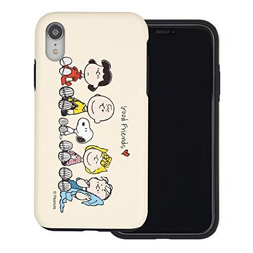 iPhone XS ケース/iPhone X ケース と互換性があります Peanuts ピーナッツ ダブル バンパー ケース デュアルレイヤー 【 アイフォンXS/アイフォンX 】 (ピーナッツ 友達 座) [並行輸入品]
