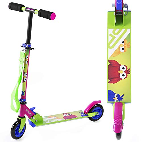 Spokey Snurr Kinder Scooter, zusammenklappbar | Kugellager ABEC-5, PVC-Rollen 120 mm | regulierbare Lenkerhöhe bis 88 cm, Gewicht 2,4 kg