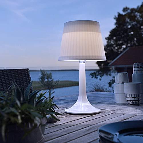 pearlstar Solar-Tischleuchte LED Solar Tischlampe Außen-Tischbeleuchtung Schreibtisch Lampe Nacht Licht Outdoor Dekorativ Tisch Beleuchtung, 2 Beleuchtungsmodi, plastik, weiß