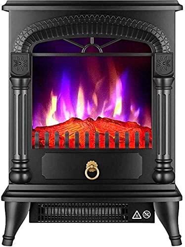 MIEMIE Fuego eléctrico con Envolvente Chimenea eléctrica Antigua Control de Estufa Protección Realista contra sobrecalentamiento con Efecto de Llama LED E (Color: Negro)
