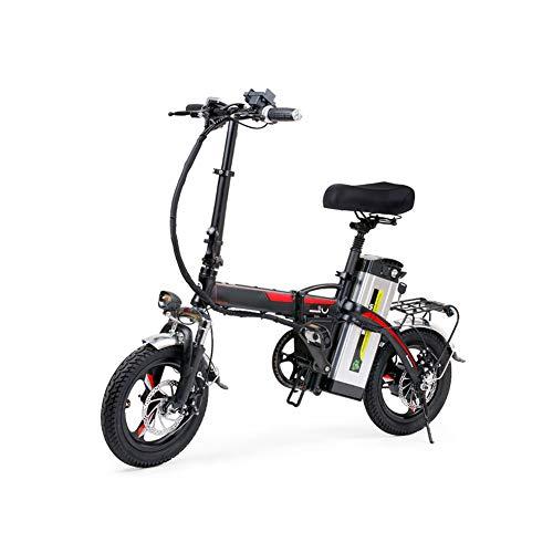 liu Faltrad E-Bike, Alu Klapp E-Bike Für Erwachsene 14-Zoll 400 W, 25KM/H, Elektrofahrrad Pedelec Faltrad Für Damen Und Herren, Praktisches Elektro Klapprad,Schwarz
