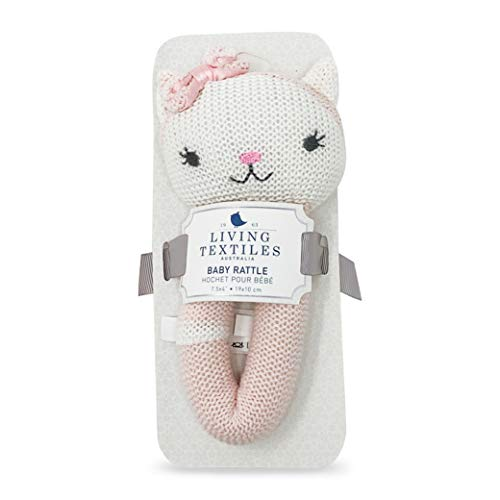 Living Textiles Baby Knitted Toy Rattle - Ava Cat - Premium 100% Cotton Super Cute Soft & Fun Stuffed Animal Toy Rattle | for Infant,Newborn,Nursery,Stuff,Knit,Gift,Shower,Girl
