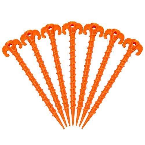 Estacas de la Tienda Espiral de plástico 15 Pack - 10 Pulgadas for Trabajo Pesado Beach piquetas Canopy estacas - Engranaje Esencial for el Camping, Senderismo, jardinería y Más