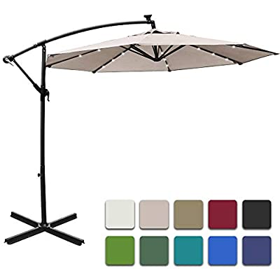 Mefo garden 10ft Solar Patio Outdoor Umbrella Offset Cantilever Hanging Umbrella 360 Degree Rotation with 24 LED Lights and Heavy Duty Steel Cross Base (Beige)