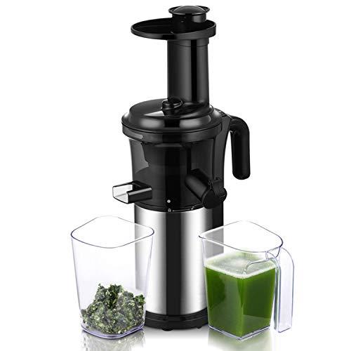 Anlong Slow Juicer Obst und Gemüse Profi/Entsafter für kaltes Pressen/Ruhiger Motor nur 40 U/min/BPA-Frei/Maximale Nährstoffextraktion, Edelstahl, 200W Black and Silver
