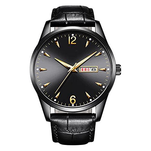 TREWQ Reloj Análogo clásico para Hombre de Cuarzo con Correa en Cuero, Diseñador Impermeable Reloj Hombre Fecha de Pulsera Regalo Elegante,Negro