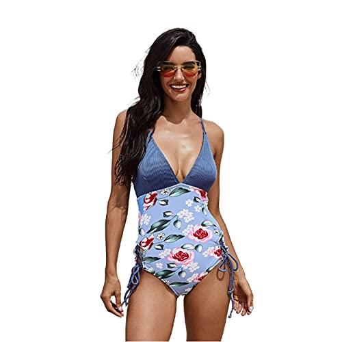 LUHUANONG 2021 Nuevo Traje de baño Mujer Sexy de una Pieza Correa de Bikini Impresa de una Sola Pieza de Verano imprimió el Traje de baño de V (Color : 02, Size : 2XL)