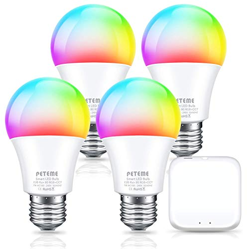 Peteme Smart Light Bulbs 4 Pack & 1 Hub,LED RGB Color Changing Smart Bulb Compatible with Alexa, Google Assistant, E26 A19 60W Equivalent