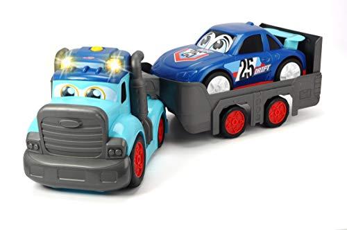 Dickie Toys Happy Truck, LKW, Autoanhänger abnehmbar, Fahrzeug-Transporter, inkl. Auto, inkl. Batterien, für Kinder ab 1 Jahr, 60 cm