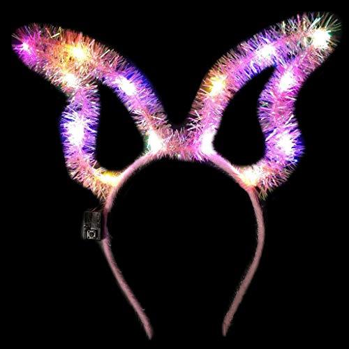 GREEN&RARE Diadema para mujeres y nias, con luz LED intermitente, linda orejas de conejo largas de conejo, para espumilln con purpurina, para Pascua, Halloween, fiesta de disfraces