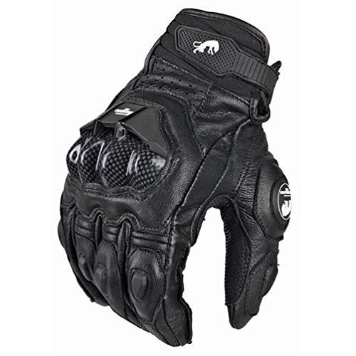 Guanti moto da moto in pelle da uomo Off-Road Guanti da motociclismo da ciclismo antivento anticaduta nero/bianco