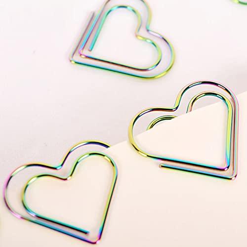 clip de papel arco iris en forma de corazón clip de papel marcador herramienta de planificación de álbumes de recortes herramienta de memoria clip de metal carpeta clip de papel