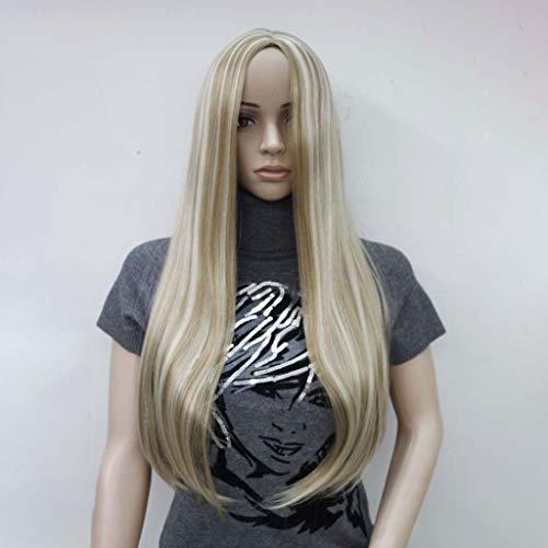 HNWNJ Pelucas para mujer largas y rectas naturales, color mixto, raíces oscuras, encaje frontal, peluca de 130% densidad, resistente al calor, fibra sintética, pelo de 24 pulgadas (color: rubio claro)