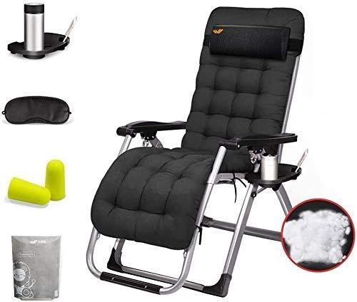 Silla de gravedad Silla de salón reclinable silla plegable al aire libre con soporte de taza y cojín tumbona portátil for terraza balcón interiores al aire libre camping (color: 1) Para el hogar, jard