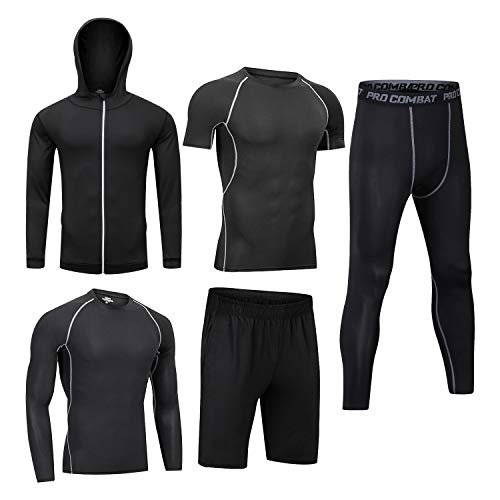 Men Workout Clothes Outfit Fitness Apparel Gym Outdoor Running Compression Pants Shirt Top Long Sleeve Jacket 4PCS or 5pcs Black