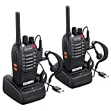 eSynic Rechargeable Walkie Talkies with Earpieces 2pcs Long Range Two-Way Radios 16 Channel UHF USB Cable Charging Walky Talky Handheld Transceiver with Flashlight
