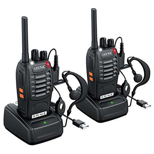 eSynic Rechargeable Walkie Talkies with Earpieces 2pcs Long Range Two-Way