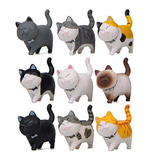 Halloluck 9 Pcs Cute Miniature Cat Figure Animal Cat Characters Toys Mini Figure Collection Playset, Cake Topper, Plant, Automobile Decoration