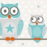 """anna wand design frise murale auto-adhésive, 450 x 11,5 cm, motif avec hibeaux """"Owl Stars Boys"""" turquoise/beige,..."""