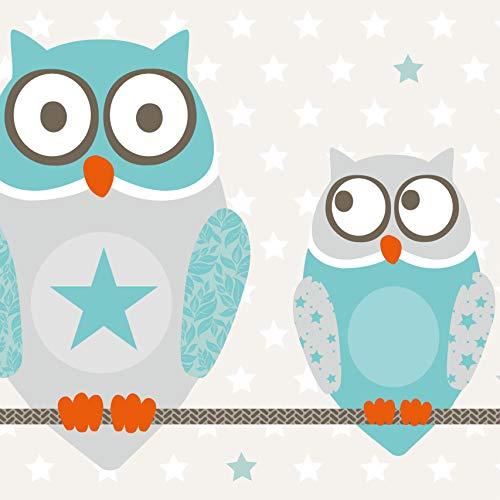 Anna Wand Bordüre selbstklebend OWL Stars Boys - Wandbordüre Kinderzimmer/Babyzimmer mit Eulen & Sternen in Türkis-Taupe - Wandtattoo Schlafzimmer Mädchen & Junge, Wanddeko Baby/Kinder