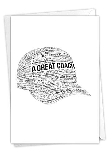A Great Coach - Inspirational Thank You Card with Envelope (4.63 x 6.75 Inch) - Gratitude and Appreciation Note Card for Coach, Mentor, Instructor - Black and White Baseball Cap Design C6767TYG-US