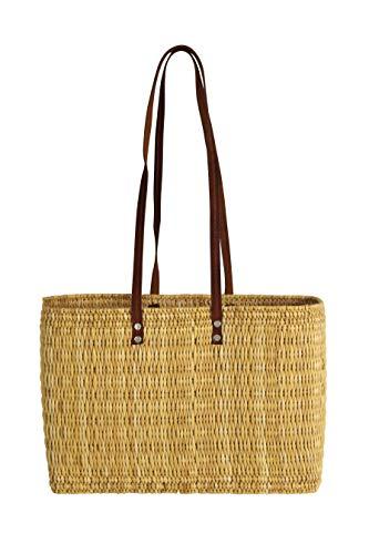 Kobolo® Einkaufstasche Schultertasche Strandtasche Flechttasche aus natürlichem Seegras mit Echt-Leder-Henkeln in der Größe 45x19x31 cm